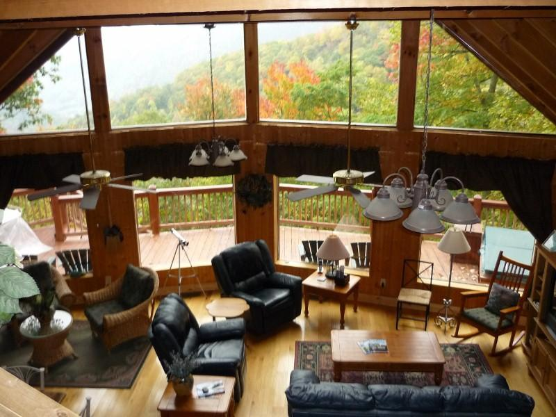 View from loft bedroom - Smoky Sunrise log home overlooking Maggie Valley - Maggie Valley - rentals