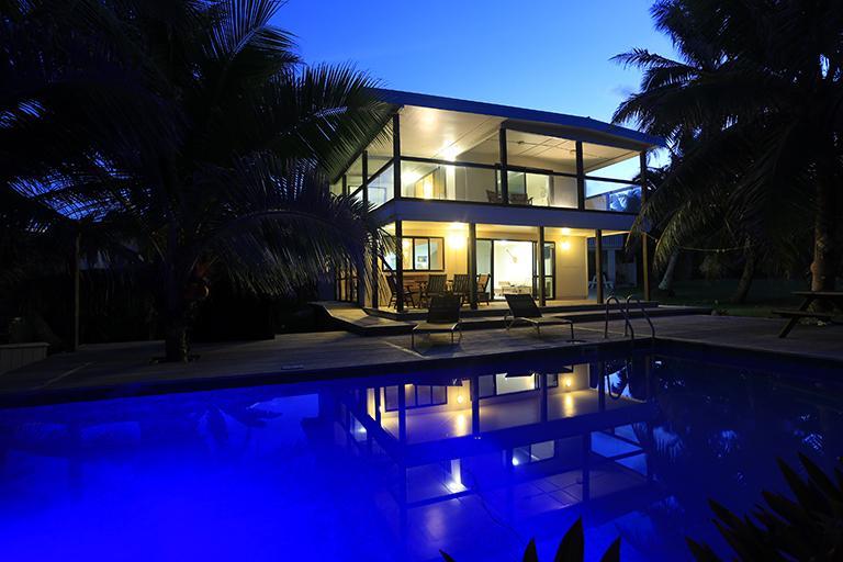 Avaro House & Pool by night - AVARO HOUSE - Beachside & Swimming Pool - Rarotonga - rentals