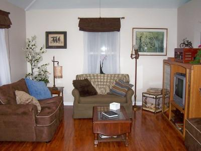 Cottage Living Room with variety of entertainment options and bicycle art - CYCLER'S REST-Leiper's Fork - Franklin -Nashville - Leiper's Fork - rentals