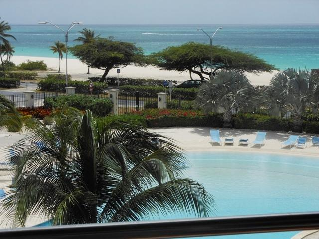 Pool and Ocean view from your balcony - Deluxe Studio condo E323-1 - Eagle Beach - rentals