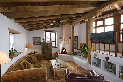 Spacious and light livng room with kiva fireplace. - Santa Fe Vacation Rentals - Juniper - Santa Fe - rentals