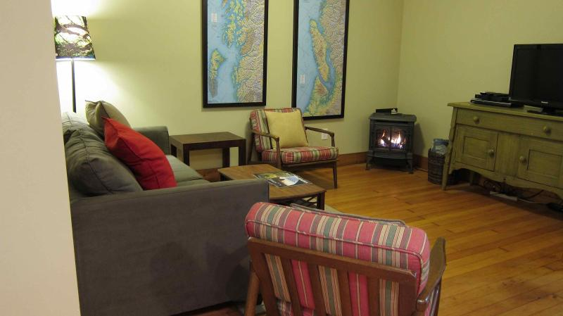Living area w/ pull out couch - WSGH - Wood Street Guest House // 1 bedroom // Sleeps 4 - Forks - rentals