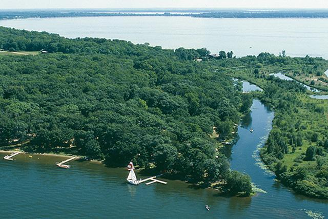 Aerial view of Samara Point on Gull Lake - Ideal Location on Level, Sandy Shore of Gull Lake - Nisswa - rentals