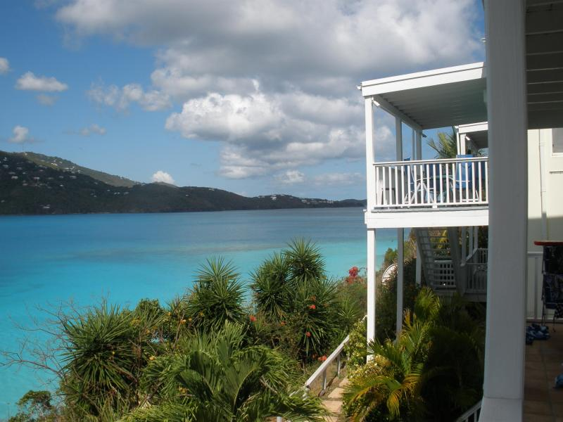 View from the Deck - Northwest - Beachfront Condo - two Bed/one bath - private deck - Saint Thomas - rentals
