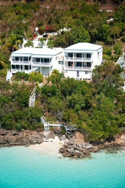 Overhead View of Eau Claire - Luxury Beachfront 3BR/3B Condo Magen Bay Water acc - Saint Thomas - rentals