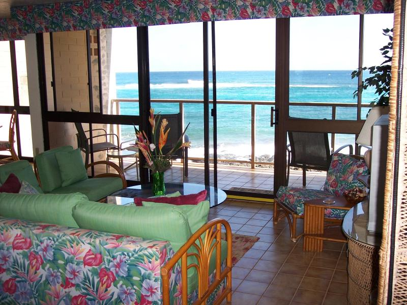 Spectacular Entry and family room view - Kuhio Shores Ocean Front Condo - Koloa - rentals