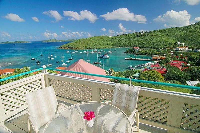 View from the Tropical Breeze deck. - Fabulous sea view 2 bedroom/2 bath St. John Condo - Cruz Bay - rentals