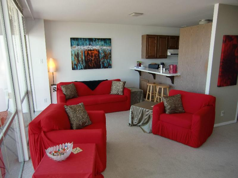 Living room with open kitchen and balcony - MODERN,very CENTRAL, Balcony, TOP-FLOOR, Sleeps4-6 - San Francisco - rentals