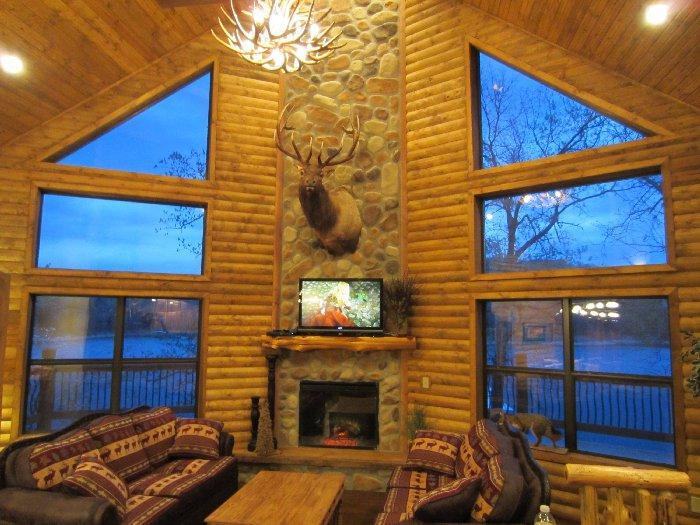 View of Main living over looking lake - Lakefront Log Chalet~Pool~Dock~Hottub~50ft To Lake - Branson - rentals