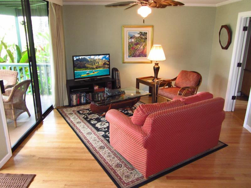 Elegant living with tasteful island decor and HDTV - Air Conditioned 1Bdrm Walk To White Sandy Beach - Poipu - rentals