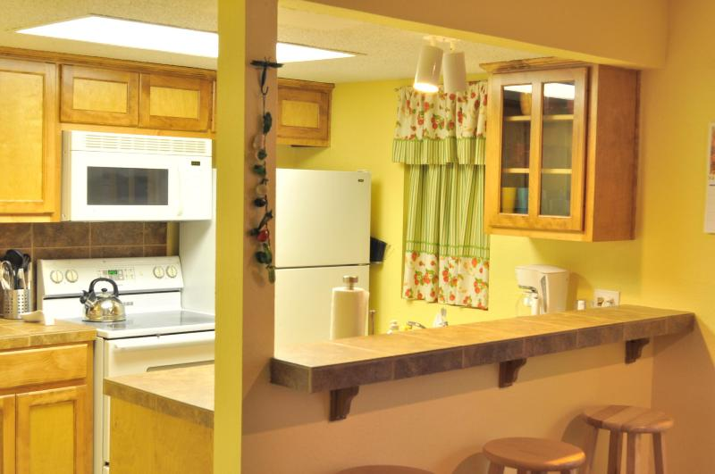 Fully furnished kitchen with breakfast bar and coffee/tea basket - Enjoy The Sweet - cozy and comfy 1/1 by Zilker - Austin - rentals