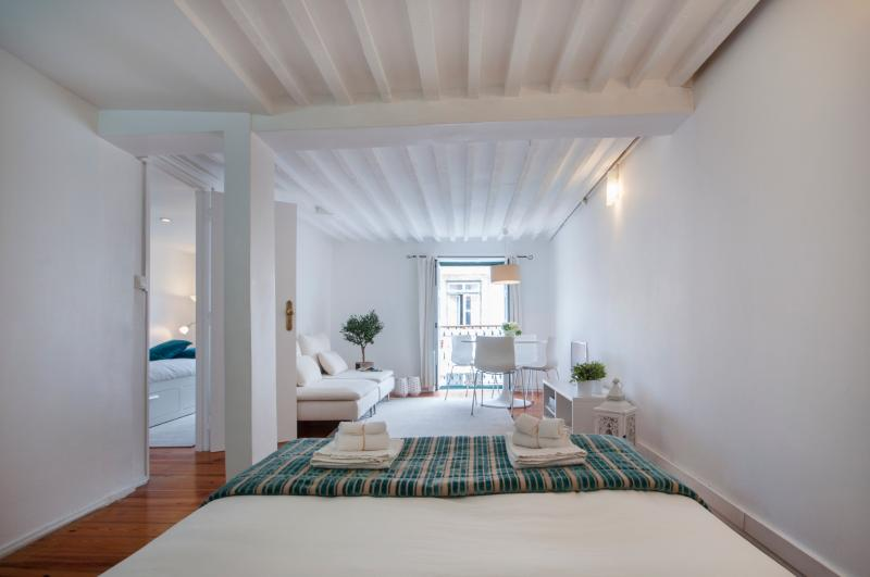 Bright lounge with view to historic centre and Lisbon's Castle - Design at historic centre w/ balcony,a/c,2BD,4PAX - Lisbon - rentals