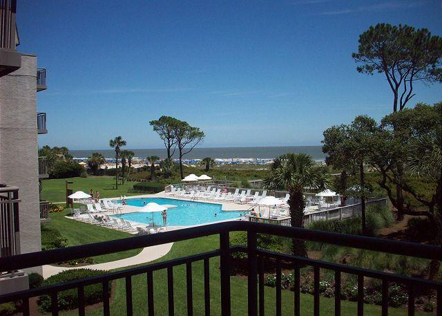 View of the pool from the Balcony - Ocean One 321 - Oceanfront 3rd Floor Condo - Hilton Head - rentals