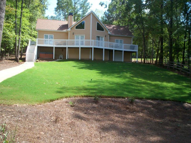 Back of house from lake - Great Lakefront Getaway-Dock,Jacuzzi,52 - Eatonton - rentals