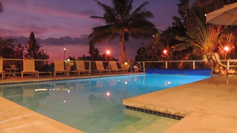 Relax after Sunset at the pool with your favorite beverage. Tiki torches provided too! - Summer Dates! Large Pool Home ~ Location ~ HotTub - Kailua-Kona - rentals