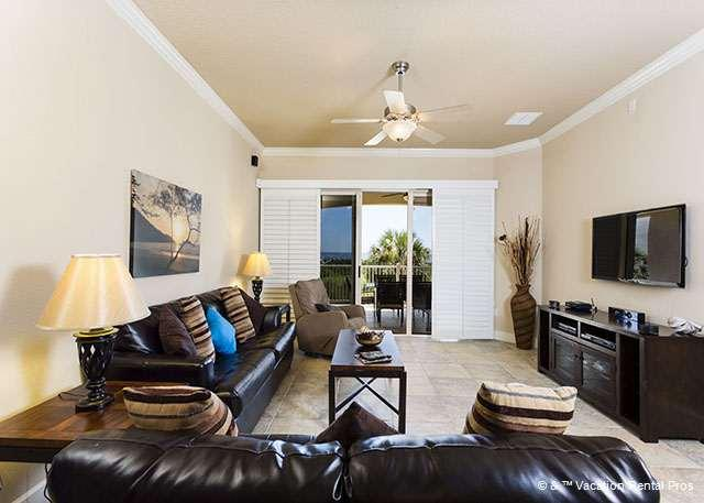 Sink into our deep leather couches! - 722 Cinnamon Beach, Ocean Front, 2nd Floor, 2 Pools, Spa, Fitnes - Palm Coast - rentals