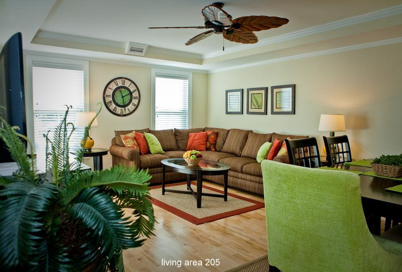 living room with section sleeper sofa and large screen TV - Lime in the Coconut 3 bedroom 2 minutes from water - Tybee Island - rentals