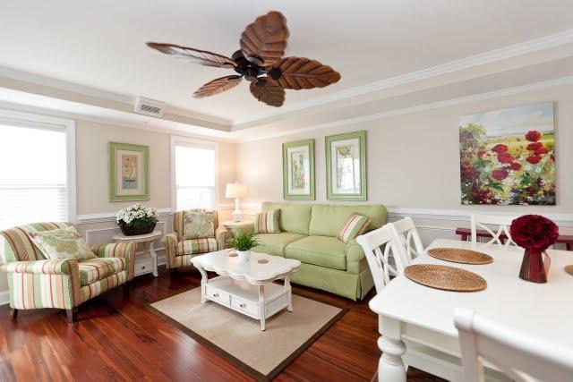 living room - Designer decorated 3 bd great location beach/pool - Tybee Island - rentals