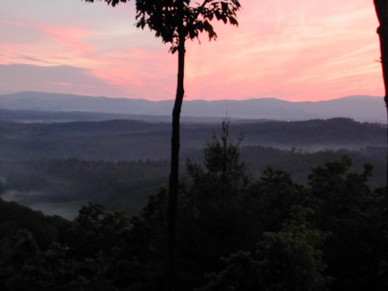 Sunset from your porch at Sunset Ridge Cabin - 3 State view -  Sunset Ridge - The View Cabin - Blue Ridge - rentals
