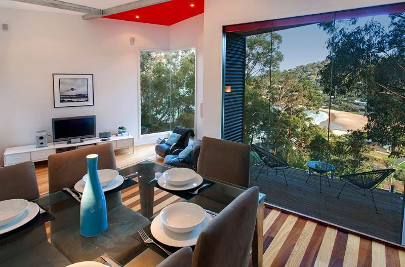 Dining Stage and Sunken Lounge with Views to Beach - Totties Place at Wye River on the Great Ocean Road - Wye River - rentals