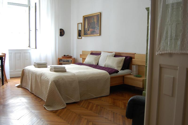 bedroom with side river view - Painter 50 M2 Apartment With Danube River View - Budapest - rentals