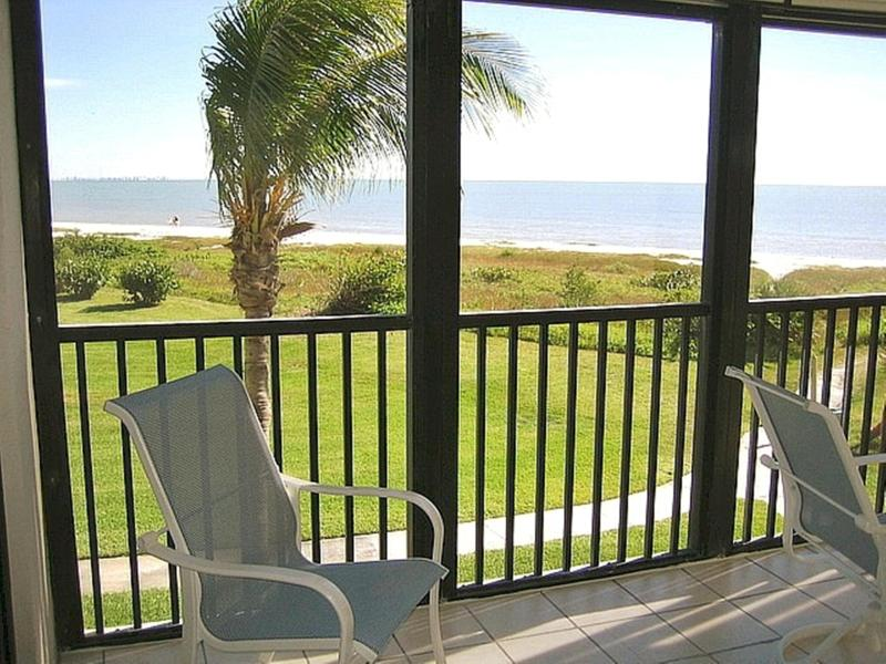 Beach View From Lanai - Relax and Enjoy Your Morning Coffee or Afternoon Drink. - Direct Beachfront, Sweeping Gulf View + Bikes/Wifi - Sanibel Island - rentals