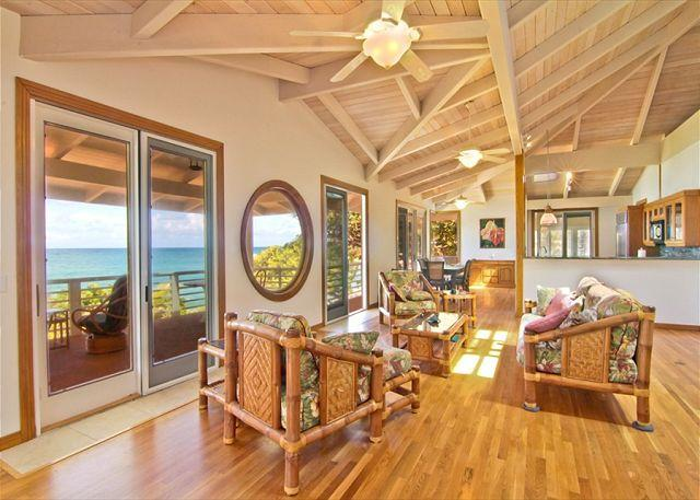 Livingroom - Mystical Moloaa Bay on a white sandy beach. Where the USS MINNOW Shipwrecked. - Anahola - rentals