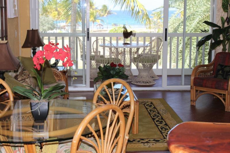 Two story great room with veranda and beach beyond - Calypso Condo, Luxury on the Water at Gentle Winds - Christiansted - rentals