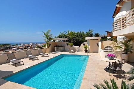 Gated Casa Tabachin with heated pool, spacious terrace & lovely town views - Image 1 - Puerto Vallarta - rentals