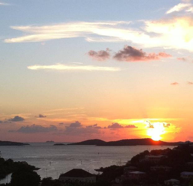 Sunset view from Cruz Bay Cottage - Cruz Bay Cottage -lovely romantic, quiet, in town - Cruz Bay - rentals