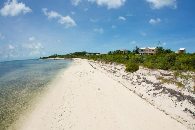 The villa is on Thompson's Cove Beach (house is on far right of photo).  Beach runs for miles. - HERON'S RETREAT  Beachfront Villa Long quiet beach - Providenciales - rentals