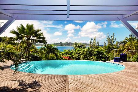 Villa Mandarine Bleue with lovely decor with infinity pool and maid service - Image 1 - Pointe Milou - rentals