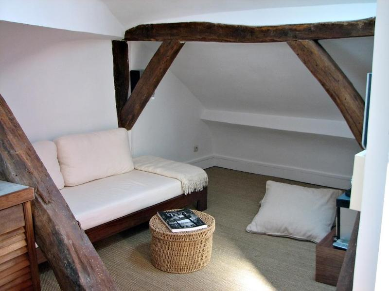The sofa is also a full size comfortable single bed - Marais Attic Hideout Rental in Ideal Location - Paris - rentals