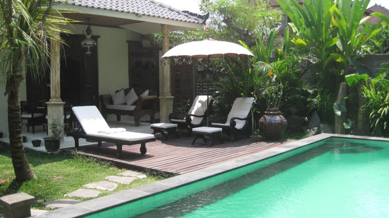 MAIN HOUSE TERRACE & POOL DECK - Rumah Sawah Kita (Our Rice-field House) - Ubud - rentals