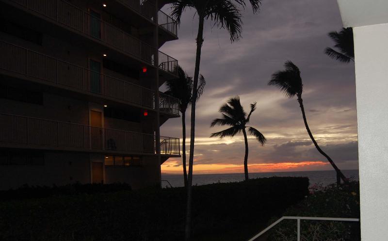 Sunset taken sitting at the bistro set  on the lanai - Royal Mauian-2 Bdrm Ground Level /air conditioning - Kihei - rentals