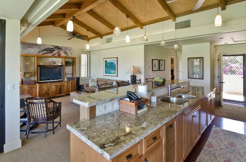 kitchen/living room - Wailea Ekahi 11f:  Ocean View/Remodel 2 BR Condo - Wailea - rentals