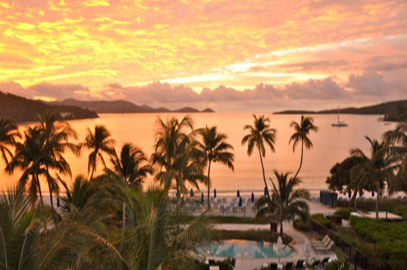 Sunrise from our deck off the living room - Ritz-Carlton Club-St. Thomas; Lots of Availability - Saint Thomas - rentals