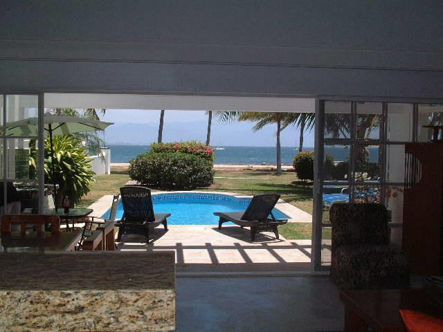 Private living area overlooking private pool - Beachfront Private Villa Private Pool and Yard - Puerto Vallarta - rentals