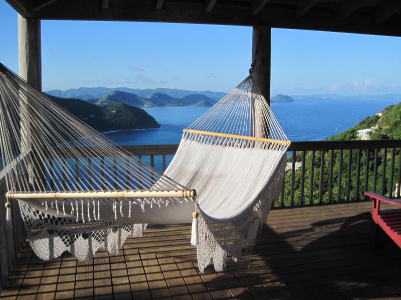 Hammock view from Makere House covered wrap-around deck - House and Cottage with Pool and Spectacular Views - Tortola - rentals