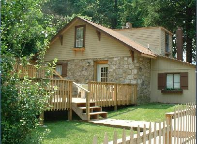 Large sunny deck. - River View Fieldstone Cabin - The Stone House - Elkins - rentals