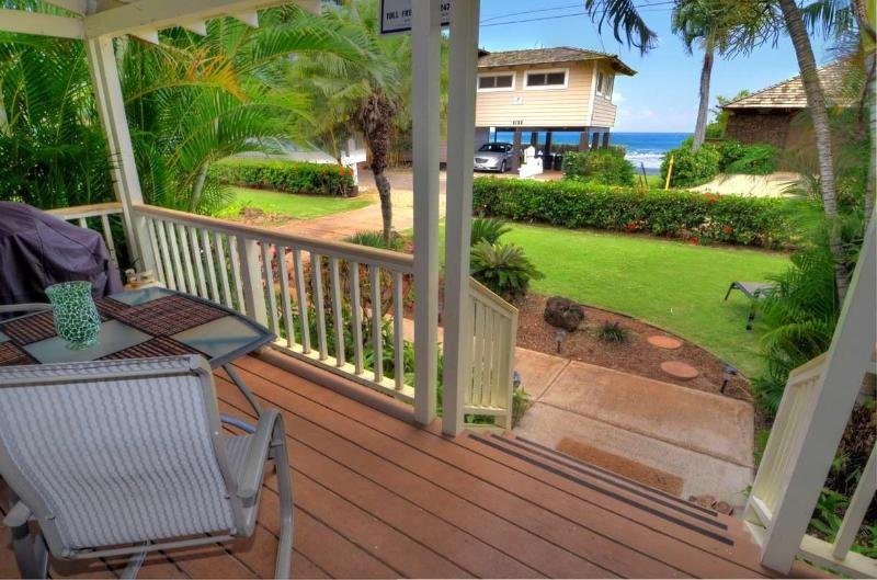 View from the lanai, kitchen, living room - Baby Beach Bungalow, Oceanview, Steps to the sand! - Poipu - rentals