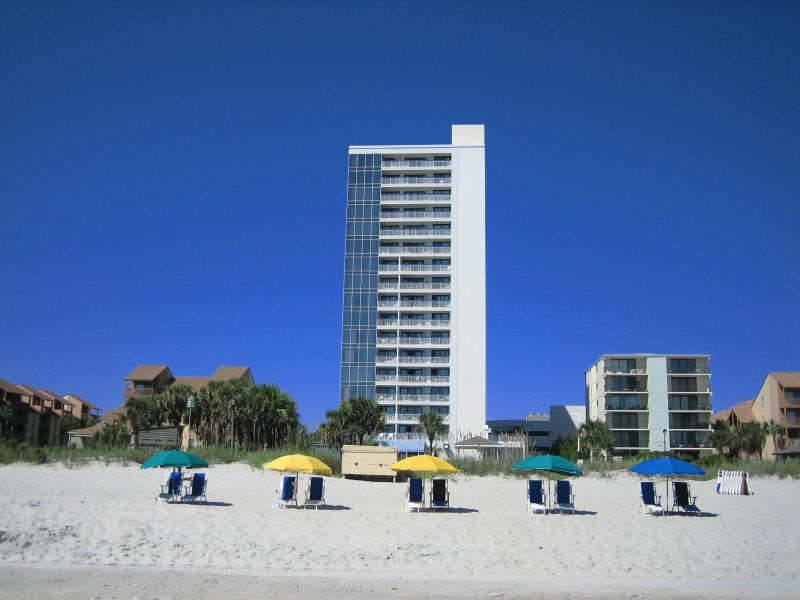 Building is only one unit wide, so great beach views from all windows - Luxury Penthouse Rental with Terrace, Hot Tub, and Pool, at Myrtle Beach - Myrtle Beach - rentals