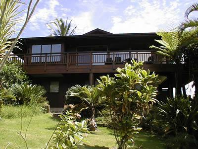 View of Bay/Mountain-facing side of house - Hanalei Vista - All Cedar Home, Breathtaking Views - Hanalei - rentals
