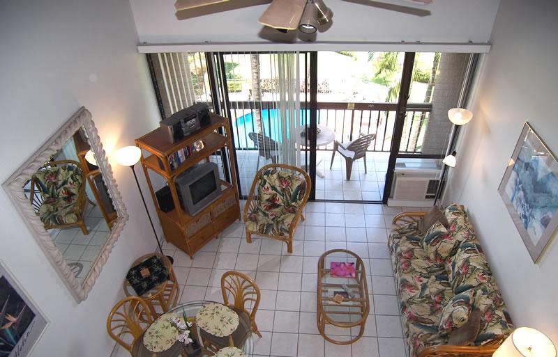 An aerial view from the loft to the main living area - 3 Bedroom Oceanview Loft Condo in Maui Vista - Kihei - rentals