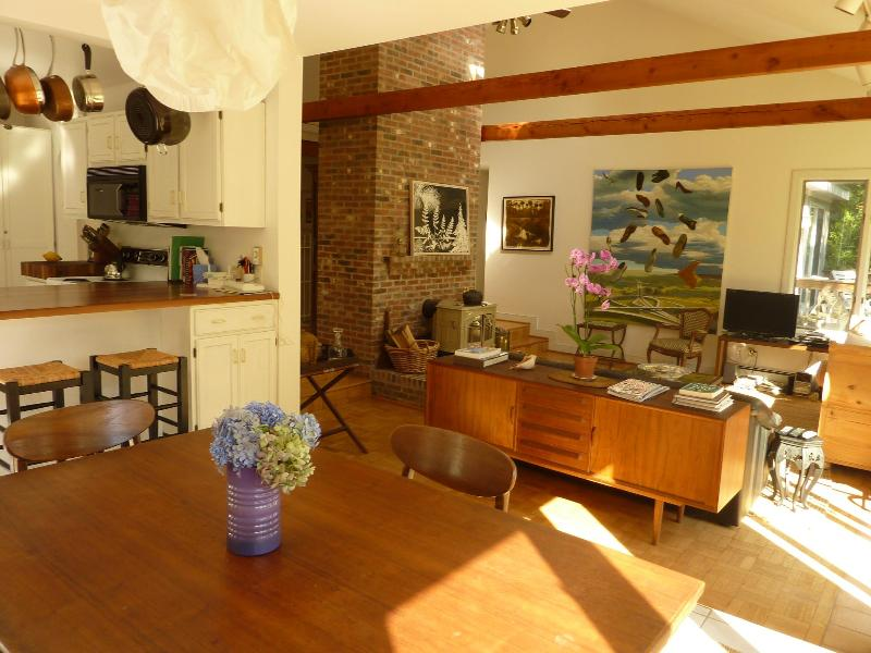 View from dining room to kitchen and living room cathedral ceilings - Relax among art and antiques 3BD contemporary - West Tisbury - rentals