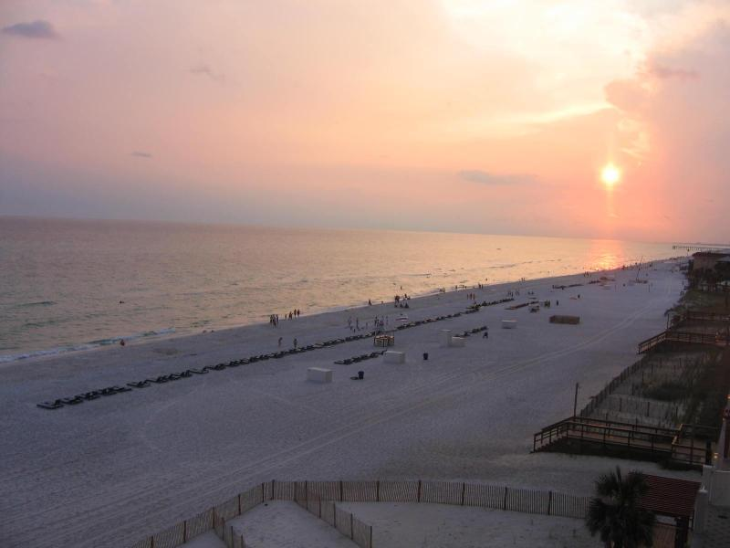 The view from the balcony facing west. - Oceanfront condo, July 4-11 week open, weekly only - Panama City Beach - rentals