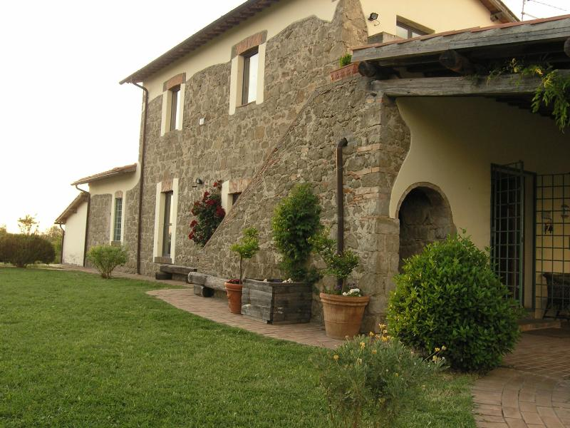 Our house and porch from entrance - old countryhouse with pool immerse in olivetrees - Viterbo - rentals