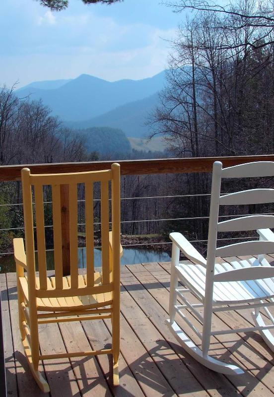Rock your cares away on the deck overlooking the Black Mountians. - GORGEOUS VIEW OF THE BLACK MTNS! CLOSE TO TOWN. - Burnsville - rentals