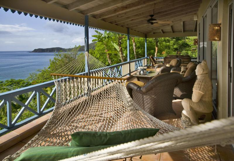 The commanding deck and stunning views from the Sunset Watch Upper Level Villa patio. - 1 BR/Balcony/Ocean View/ Steps from the beach ! - Virgin Gorda - rentals