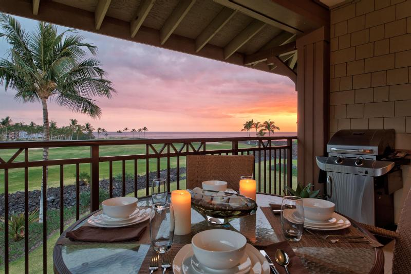 Sunset from the Lanai - Oceanview 2Br Halii Kai Condo12A-(cleaning and resort fees included) - Waikoloa - rentals